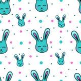Naadloos patroon met de konijnen van Pasen Stock Foto