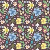 Naadloos patroon met de lentebloemen stock illustratie