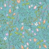 Naadloos patroon met de lentebloemen en installatietakken vector illustratie