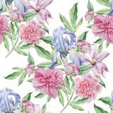 Naadloos patroon met de lentebloemen Iris Pioen Clematissen watercolor Royalty-vrije Stock Afbeelding