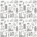 Naadloos patroon met de lijnpictogrammen van de ecostad stock illustratie