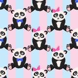 Naadloos patroon met de pandajongen van het pandameisje - vectorillustratie, eps royalty-vrije illustratie