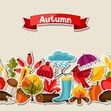 Naadloos patroon met de pictogrammen van de de herfststicker en Royalty-vrije Stock Foto