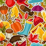 Naadloos patroon met de pictogrammen van de de herfststicker en Stock Foto's