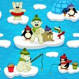 Naadloos patroon met de pinguïn van de ijsbeerwalrus Royalty-vrije Stock Foto