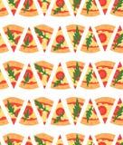 Naadloos patroon met de plakken van pizzamargherita Vector illustratie Royalty-vrije Stock Fotografie