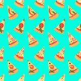 Naadloos patroon met de plakken van pizzamargherita Vector illustratie Stock Foto's