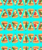 Naadloos patroon met de plakken van pizzamargherita Vector illustratie beeldverhaal Stock Afbeelding