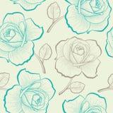 Naadloos patroon met de rozen van de handtekening Stock Afbeeldingen