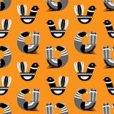 Naadloos patroon met de Skandinavische stijl vectoril van fantasievogels Royalty-vrije Stock Afbeelding