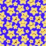 Naadloos patroon met de sterrenkarakters van smileykawaii de grappige Vector van het gezichts Vlakke ontwerp vector illustratie