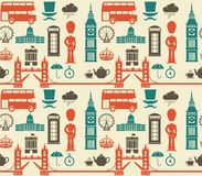 Naadloos patroon met de symbolen en de oriëntatiepunten van Londen Engeland stock fotografie