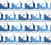 Naadloos patroon met de symbolen en de oriëntatiepunten van New York stock foto's
