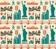 Naadloos patroon met de symbolen en de oriëntatiepunten van New York de V.S. royalty-vrije stock foto's