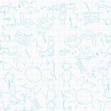 Naadloos patroon met de tekeningen van kinderen Stock Afbeeldingen