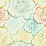 Naadloos patroon met de tekeningsrozen van de kleurenhand Stock Foto
