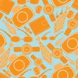 Naadloos patroon met de voorwerpen van de mensenmanier Stock Foto's