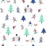 Naadloos patroon met de winteractiviteiten stock foto