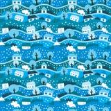 Naadloos patroon met de winterdorp Royalty-vrije Stock Afbeelding