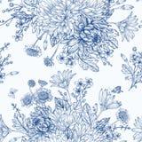 Naadloos patroon met de Zomerbloemen Stock Foto's