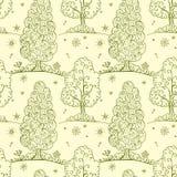 Naadloos patroon met de zomerbomen Stock Afbeeldingen