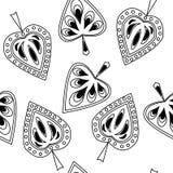 Naadloos patroon met decoratieve bladeren Stock Afbeeldingen