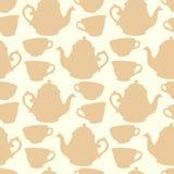 Naadloos patroon met decoratieve koppen en theepotten Stock Afbeeldingen