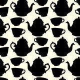 Naadloos patroon met decoratieve koppen en theepotten Royalty-vrije Stock Foto