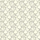 Naadloos patroon met decoratieve koppen en theepotten Stock Fotografie