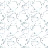 Naadloos patroon met decoratieve koppen en theepotten Royalty-vrije Stock Afbeeldingen