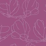 Naadloos patroon met decoratieve magnolia'sbloemen Vectorflora Royalty-vrije Stock Afbeeldingen
