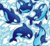 Naadloos patroon met decoratieve orkawalvissen Vector illustratie stock illustratie
