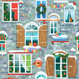 Naadloos patroon met decoratieve Vensters in de wintertijd Royalty-vrije Stock Foto's