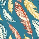 Naadloos patroon met decoratieve veren Stock Afbeeldingen