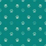 Naadloos patroon met dierlijke pootdrukken Complexe illustratiedruk in zwarte, room en groen royalty-vrije illustratie