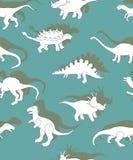 Naadloos patroon met dinosaurussen, dinosaurussen witte silhouetten royalty-vrije illustratie