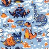 Naadloos patroon met dinosaurussen met giften en slinger Creatieve vakantieachtergrond Vector illustratie royalty-vrije illustratie
