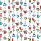 Naadloos patroon met diverse dranken en cocktails Royalty-vrije Illustratie