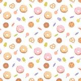 Naadloos patroon met diverse snoepjes Stock Illustratie