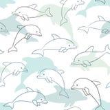Naadloos patroon met dolfijn op wit het ontwerp voor de kaart van de vakantiegroet en de uitnodiging van baby overgieten, verjaar vector illustratie