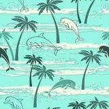 Naadloos patroon met dolfijnen en palmen De zomerachtergrond royalty-vrije illustratie