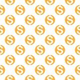 Naadloos patroon met dollarteken Het herhalen van bac van het muntsymbool stock illustratie