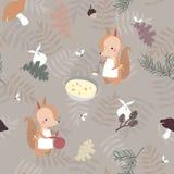 Naadloos patroon met eekhoorns Stock Afbeelding