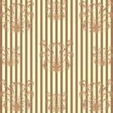 Naadloos patroon met een bruin bloemenpatroon op donkere bruine gestreepte achtergrond Stock Foto