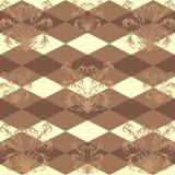 Naadloos patroon met een bruin bloemenpatroon op donkere bruine Rob als achtergrond Stock Fotografie