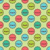 Naadloos patroon met een kleurrijke sport Gelukkige het glimlachen beeldverhaalvlekken voor babytextiel Stock Fotografie