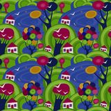 Naadloos patroon met een mooi kinderen` s patroon van huizen, gazons en meren Royalty-vrije Stock Foto