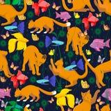 Naadloos patroon met een oranjerode kat vector illustratie