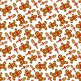 Naadloos patroon met een een peperkoekmens en suikerriet Royalty-vrije Stock Fotografie