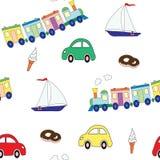 Naadloos patroon met een reeks speelgoed voor de jongen en het snoepje Een vectorbeeld Ontwerpelementen voor een kinderen` s druk Stock Afbeelding